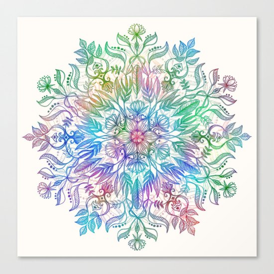Nature Mandala in Rainbow Hues Canvas Print