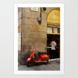 Red Vespa  Art Print