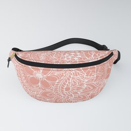 Modern trendy white floral lace hand drawn pattern orange pink Fanny Pack