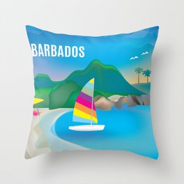 Barbados - Skyline Illustration by Loose Petals Throw Pillow