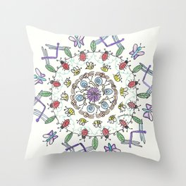 Garden Friends Mandala Throw Pillow