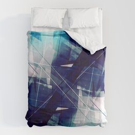 Shades of Blue - Geometric Abstract Art Comforters