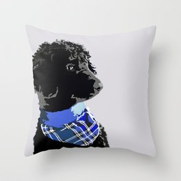 Black Standard Poodle in Blue Throw Pillow