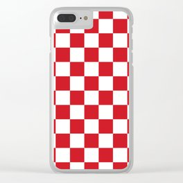 Checkered - White and Fire Engine Red Clear iPhone Case