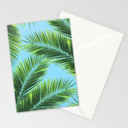 Tropical Palm Leaf Pattern 2 - Tropical Wall Art - Summer Vibes - Modern, Minimal - Green, Blue Stationery Cards