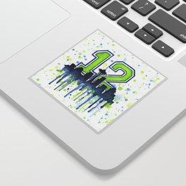 Seattle 12th Man Art Skyline Watercolor Sticker