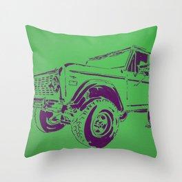Green Bronco Throw Pillow