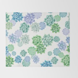 Floral succulent pattern Throw Blanket
