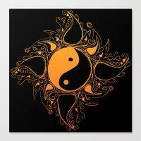 yin yang Canvas Prints featuring Yin & Yang by #dancingpenguin