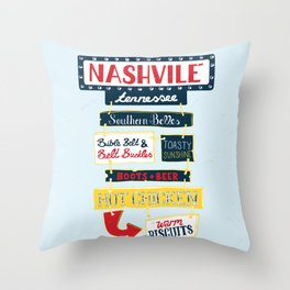 Nashville signs Throw Pillow