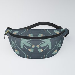 Floral Symmetry Pattern in Deep Blue And Teal Fanny Pack