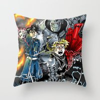 fullmetal alchemist Throw Pillows featuring Fullmetal Alchemist by MarioRojas