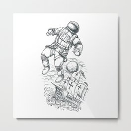 Astronaut Tethered to Caravel Tattoo Metal Print