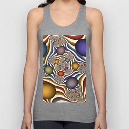 Flying Up, Colorful, Modern, Abstract Fractal Art Unisex Tank Top