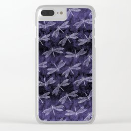 Purple Dragonfly Twighlight Dance Clear iPhone Case