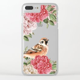 Bird in Turquoise Clear iPhone Case
