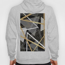 Original Gray and Gold Abstract Geometric Hoody