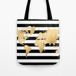 Gold world map black and white stripes Tote Bag