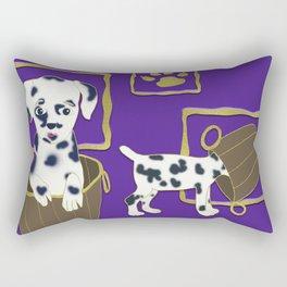 Purple puppy antics | Puppies at play Rectangular Pillow