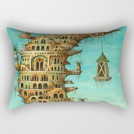 'Living on the Moon' surrealist landscape painting Rectangular Pillow