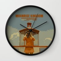 moonrise kingdom Wall Clocks featuring Moonrise Kingdom by FunnyFaceArt