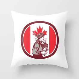 Canadian Bagpiper Canada Flag Icon Throw Pillow