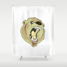 Grizzly-bear badge Shower Curtain