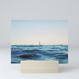 White Sailing Boat Sailing on the Horizon, Open Blue sea Mini Art Print