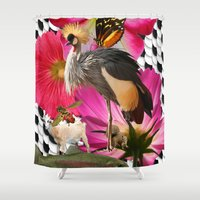 trout Shower Curtains featuring Crested Crown, Squirrel, trout, craziness by spfineprints