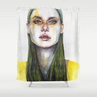agnes Shower Curtains featuring yellow lemongrass by agnes-cecile