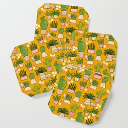 Cactus Cat Yellow Coaster