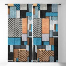 Random Concrete Pattern - Blue, Grey, Brown Blackout Curtain