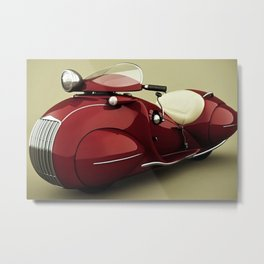 Vintage Candy Apple Red Henderson Art Deco Motorcycle Metal Print