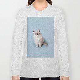 Blue eyed Ragdoll kitty sitting Long Sleeve T-shirt