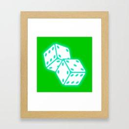 Two game dices neon light design Framed Art Print