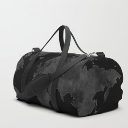 "Black and gray watercolor world map ""Coal mine"" Duffle Bag"