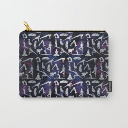 Yoga Asanas / Poses  pattern on Amethyst Carry-All Pouch