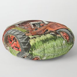 1952 Red Tractor Floor Pillow