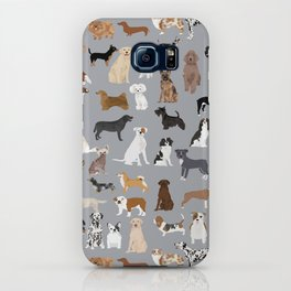 Mixed Dog lots of dogs dog lovers rescue dog art print pattern grey poodle shepherd akita corgi iPhone Case