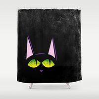 black cat Shower Curtains featuring Black cat  by AhaC