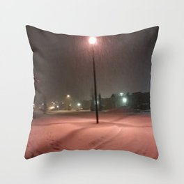 Pink lights and snowy nights Throw Pillow
