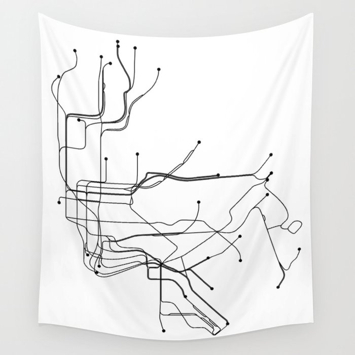 Black And White Subway Map Tapestry.New York City White Subway Map Wall Tapestry By Multiplicity