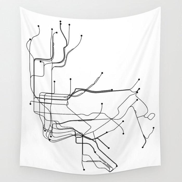 New York City Subway Map Black And White.New York City White Subway Map Wall Tapestry By Multiplicity
