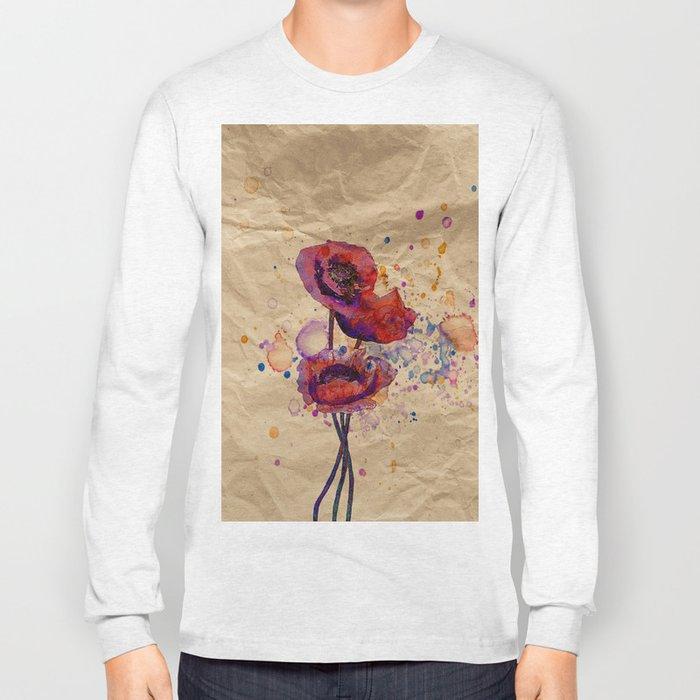 Poppies - abstract watercolor drawing Long Sleeve T-shirt