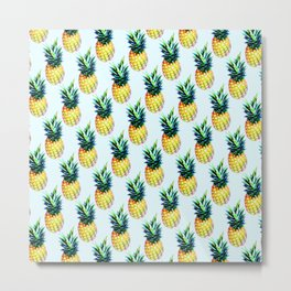 Tropical pineapples on blue background Metal Print