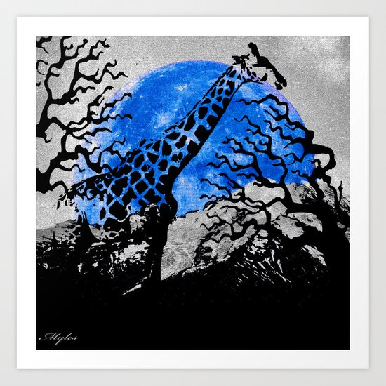 GIRAFFE IN A THICKET Art Print