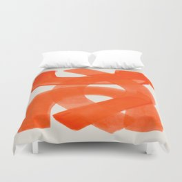 Mid Century Modern Abstract Painting Orange Watercolor Brush Strokes Duvet Cover