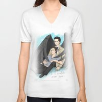 destiel V-neck T-shirts featuring Fluffy Muffly Destiel by bayobayo