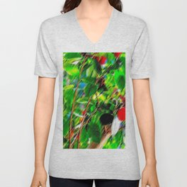 Ruby Red with a Touch of Fresh Lime Unisex V-Neck