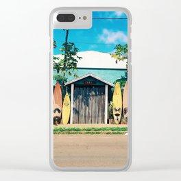 Surfboard Rainbow Clear iPhone Case